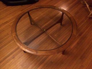 Vintage Mid - Century Lane Round Glass - Top Table Danish Modern,  1964,  41