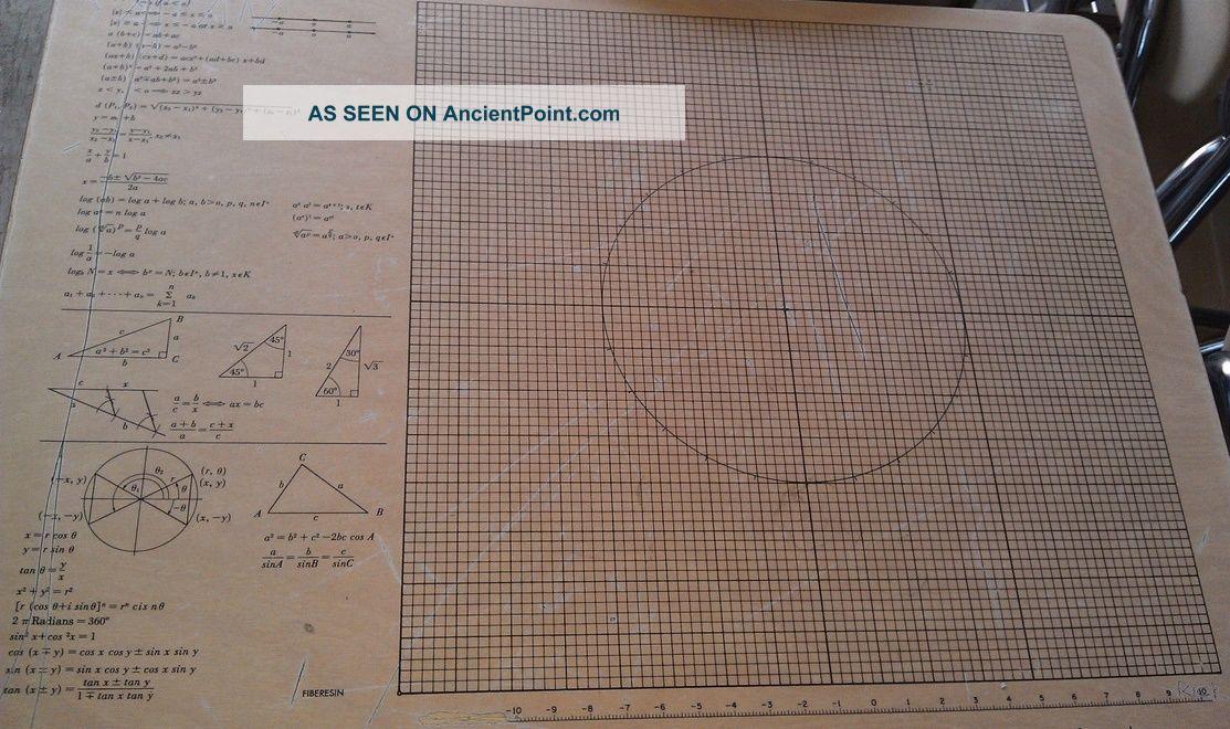 Rare 50 ' S Mid Century School Chair Desk W/ Vectors Graphs Formulas Embedded Mid-Century Modernism photo