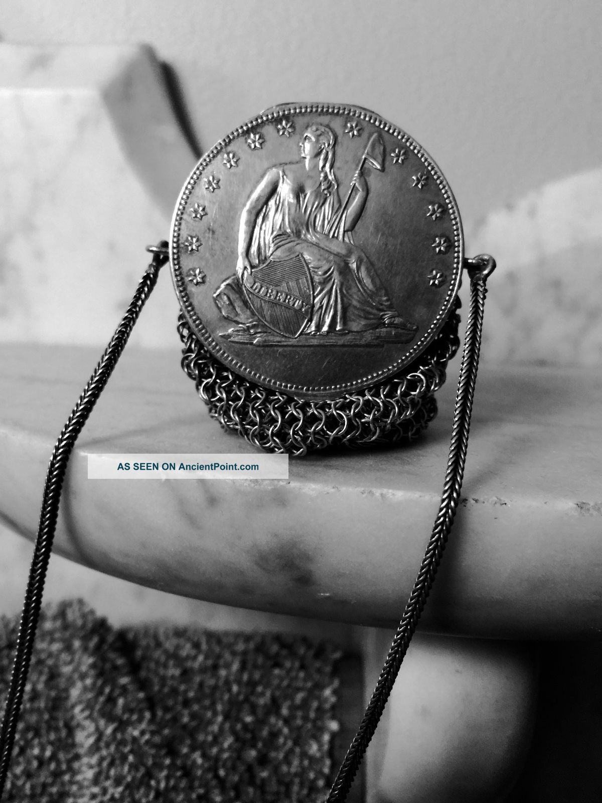 Victorian Era Silver Plated? Mesh Seated Liberty Coin Change Necklace Purse Victorian photo