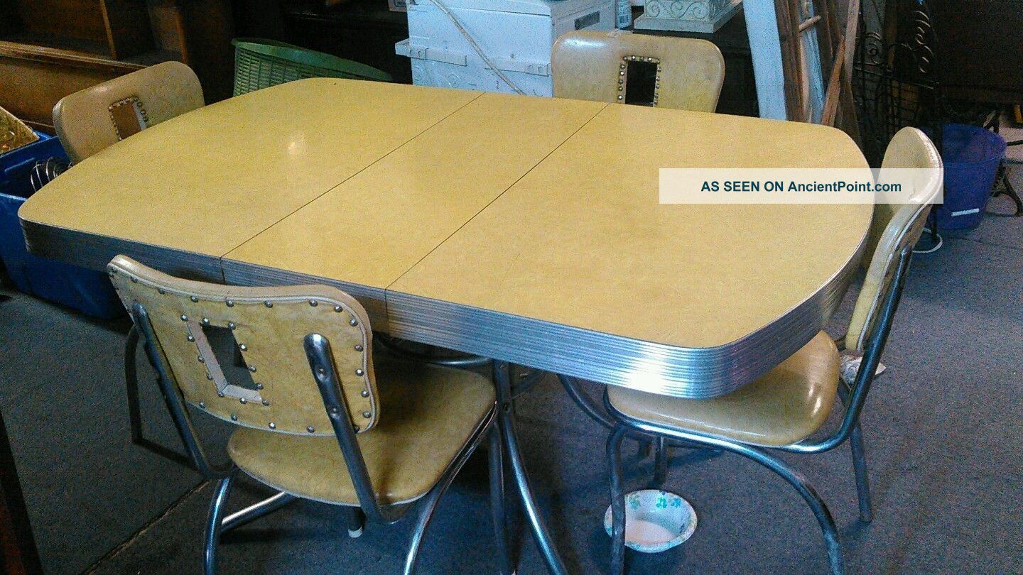 Vintage Formica Table In Yellow Post-1950 photo