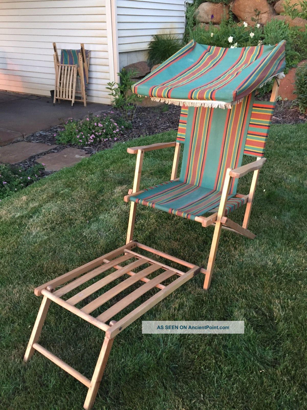 Vintage Fabric & Wood Folding Ship Deck Lawn Chair 100 1940 ' S 1 1900-1950 photo