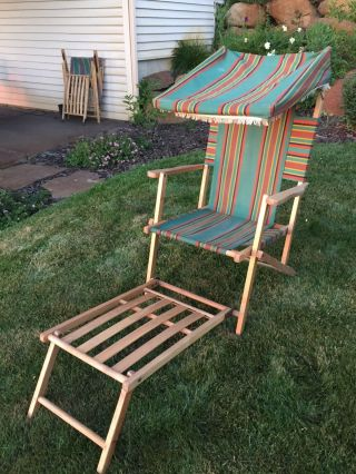 Vintage Fabric & Wood Folding Ship Deck Lawn Chair 100 1940 ' S 1 photo