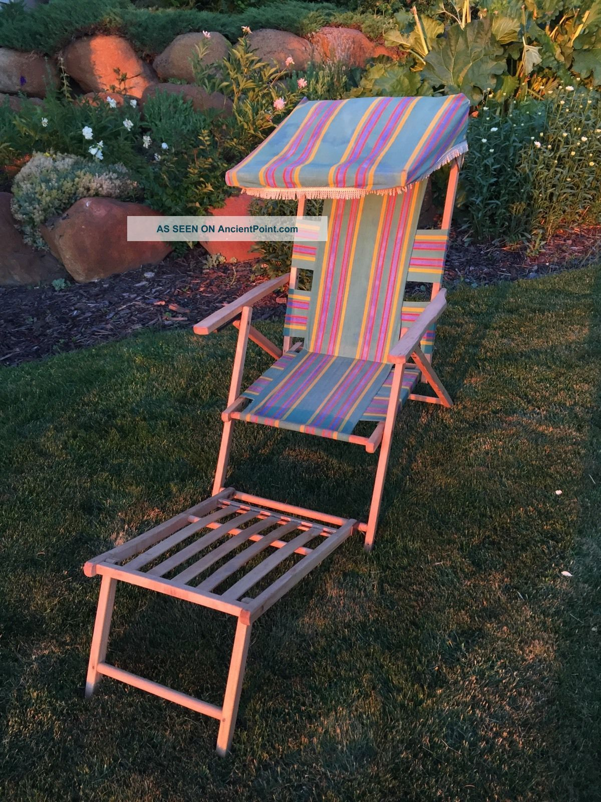 Vintage Fabric & Wood Folding Ship Deck Lawn Chair 100 1940 ' S 2 1900-1950 photo