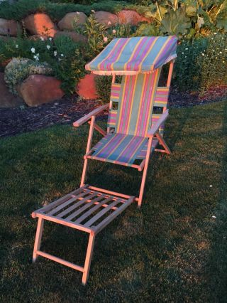 Vintage Fabric & Wood Folding Ship Deck Lawn Chair 100 1940 ' S 2 photo