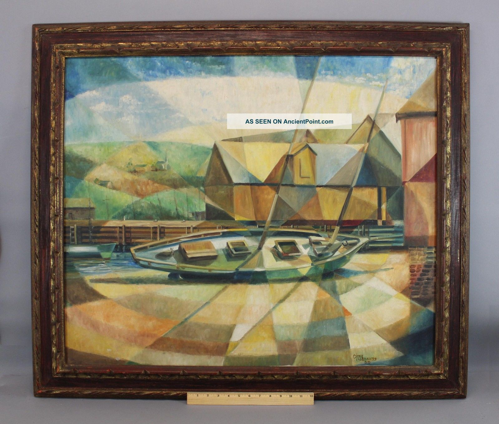 1959 Vintage Mid - Century Modernist Orrie Nordness Sailboat Painting Cubist Style Other Maritime Antiques photo