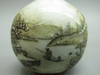 Chinese Exquisite Handmade Landscape Pattern Porcelain Snuff Bottle photo