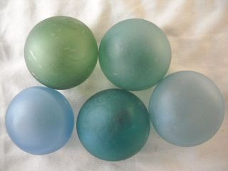 5 Authentic Vintage Japanese Frosted Glass Floats Alaska Beachcombed photo