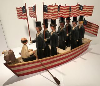 Magnificent Wwii Era Patriotic Red,  White&blue Carved American Folk Art Row Boat photo