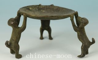 Chinese Bronze Casting Dog Statue Oil Lamp photo