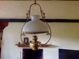 Antique Large Victorian Veritas - Duplex Brass Ceiling Oil Lamp photo