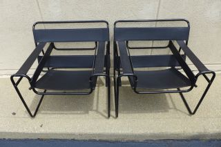 Vintage Wassily Chairs Mid Century Modern Black Leather Made In Italy Nr photo