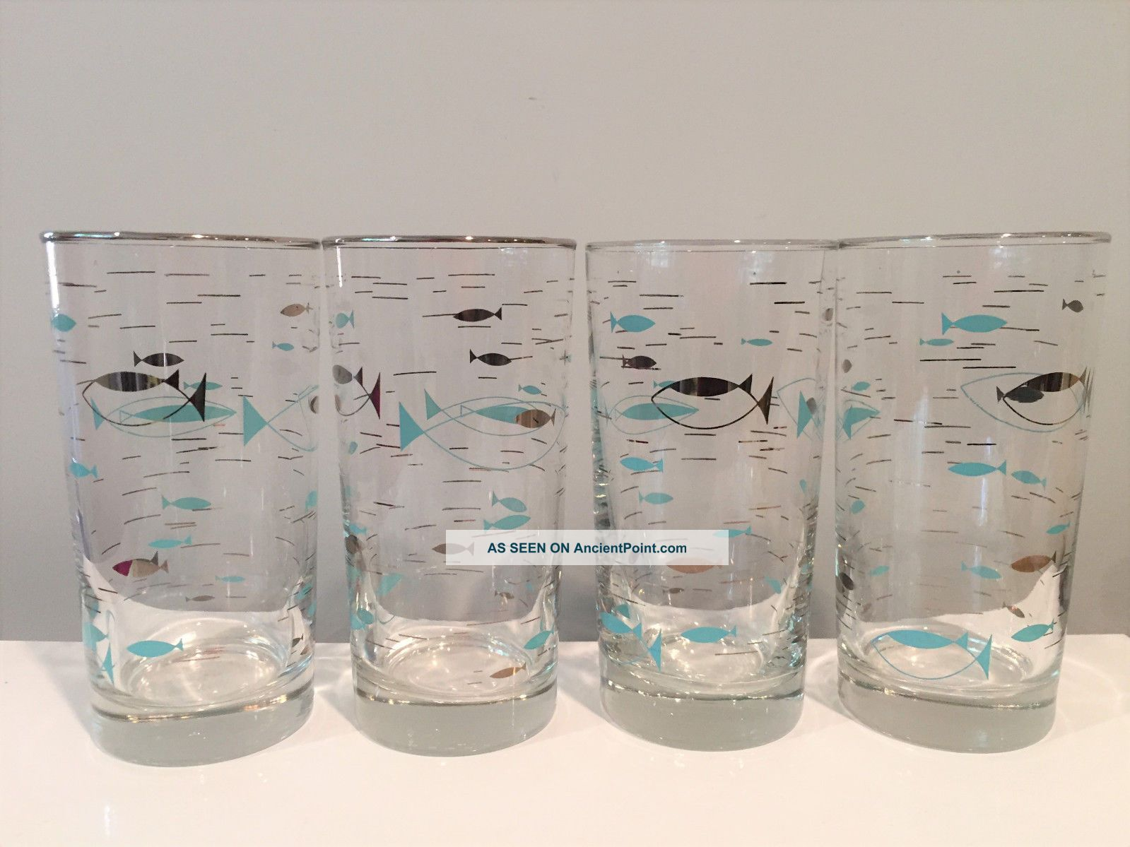 4 Atomic Fish Tall Cocktail Glasses Tumblers Libbey Mediterranean Pattern 1950s Mid-Century Modernism photo