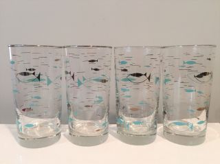 4 Atomic Fish Tall Cocktail Glasses Tumblers Libbey Mediterranean Pattern 1950s photo