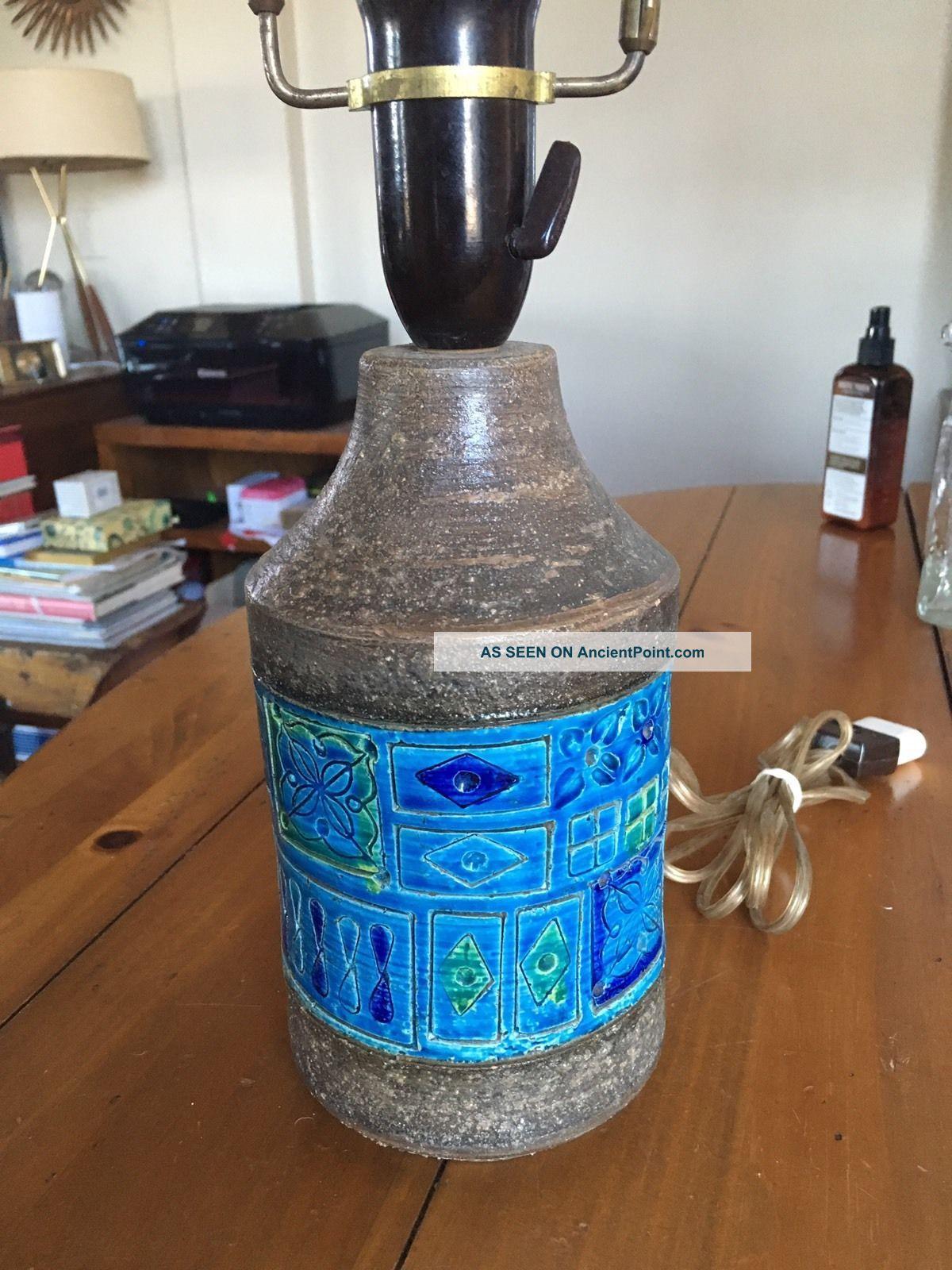 Vtg Bitossi Lamp Mcm Blue Ceramic Mid-Century Modernism photo