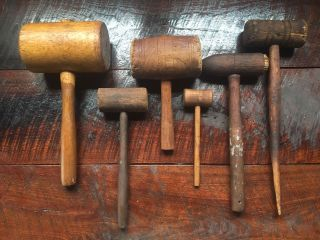 Antique Wooden Mallets Carpenter Tools Primitive Wooden Hammers Gavels photo