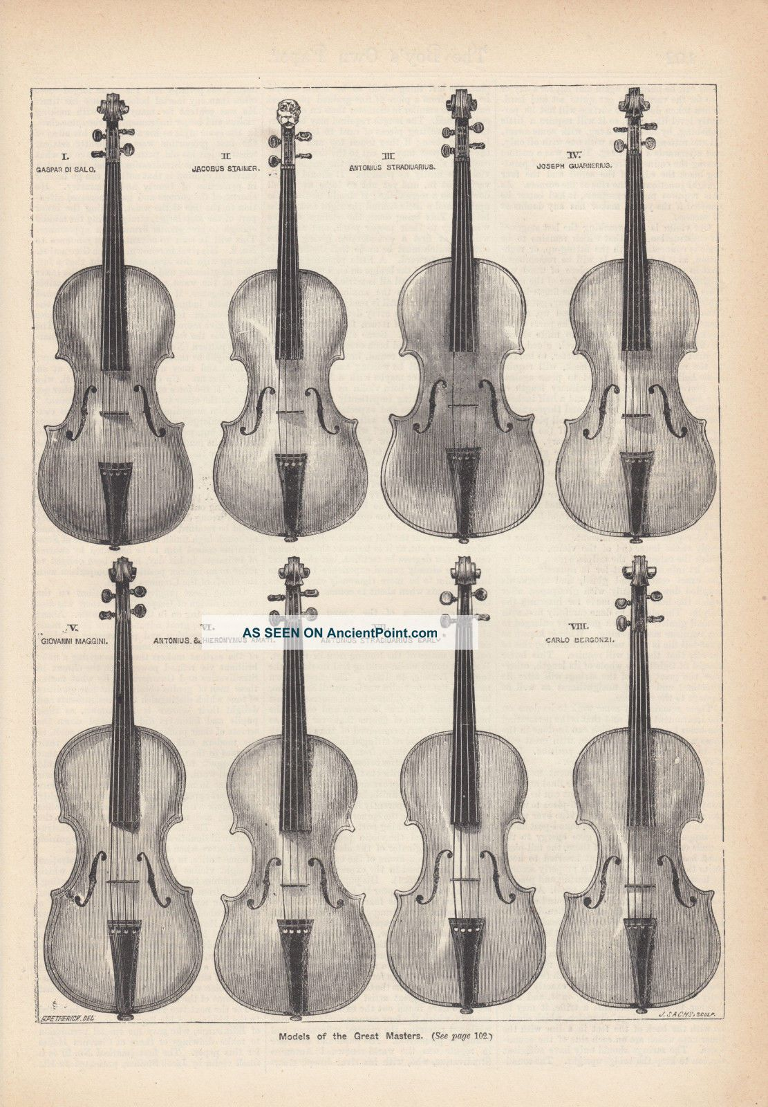 Violins Of The Great Masters Famous Violins Antique Music Art Print 1882 String photo
