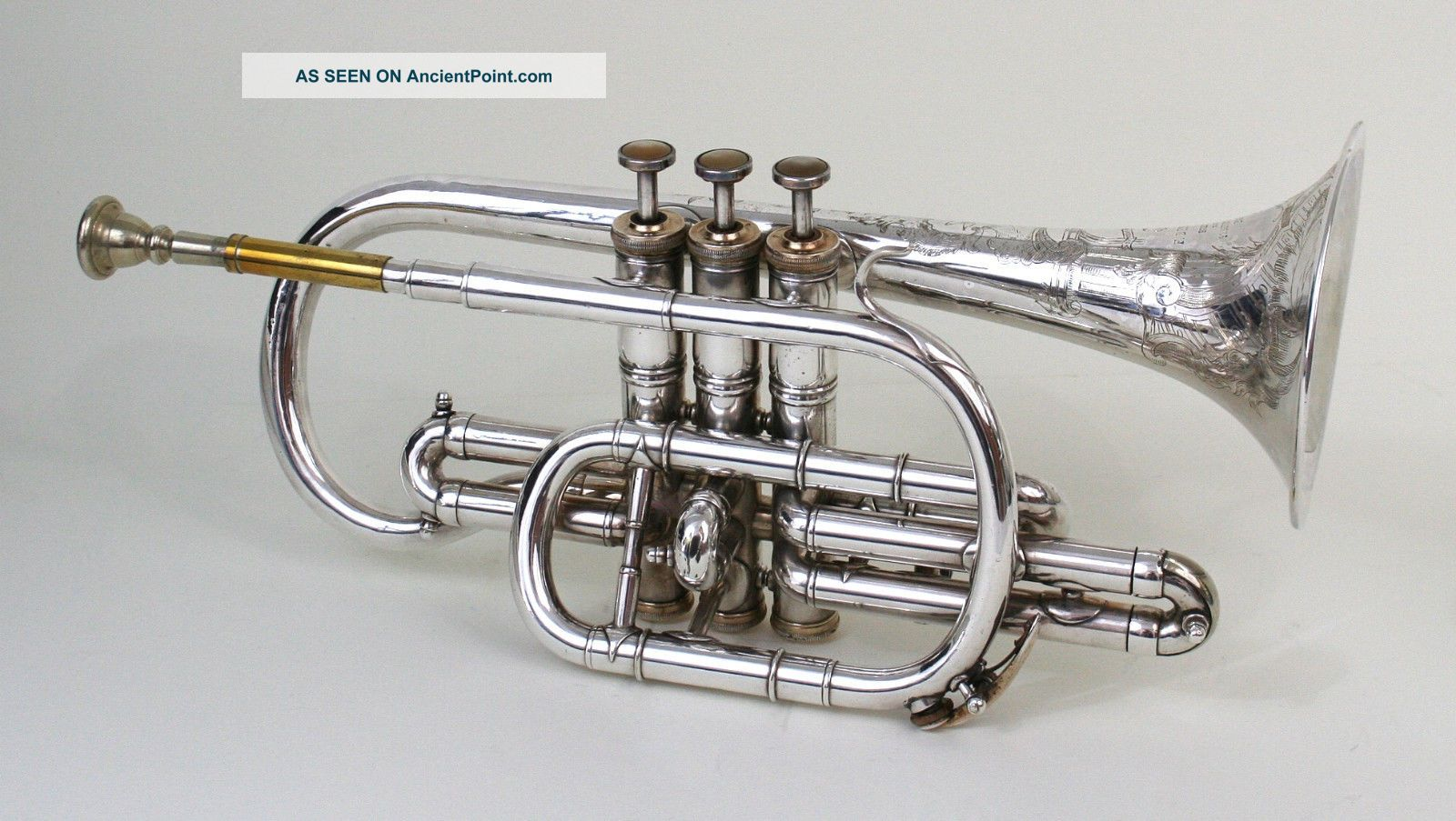Antique F.  Besson Cornet,  Système Prototype,  Breveté,  96 Rue D ' Angouleme,  Paris Brass photo