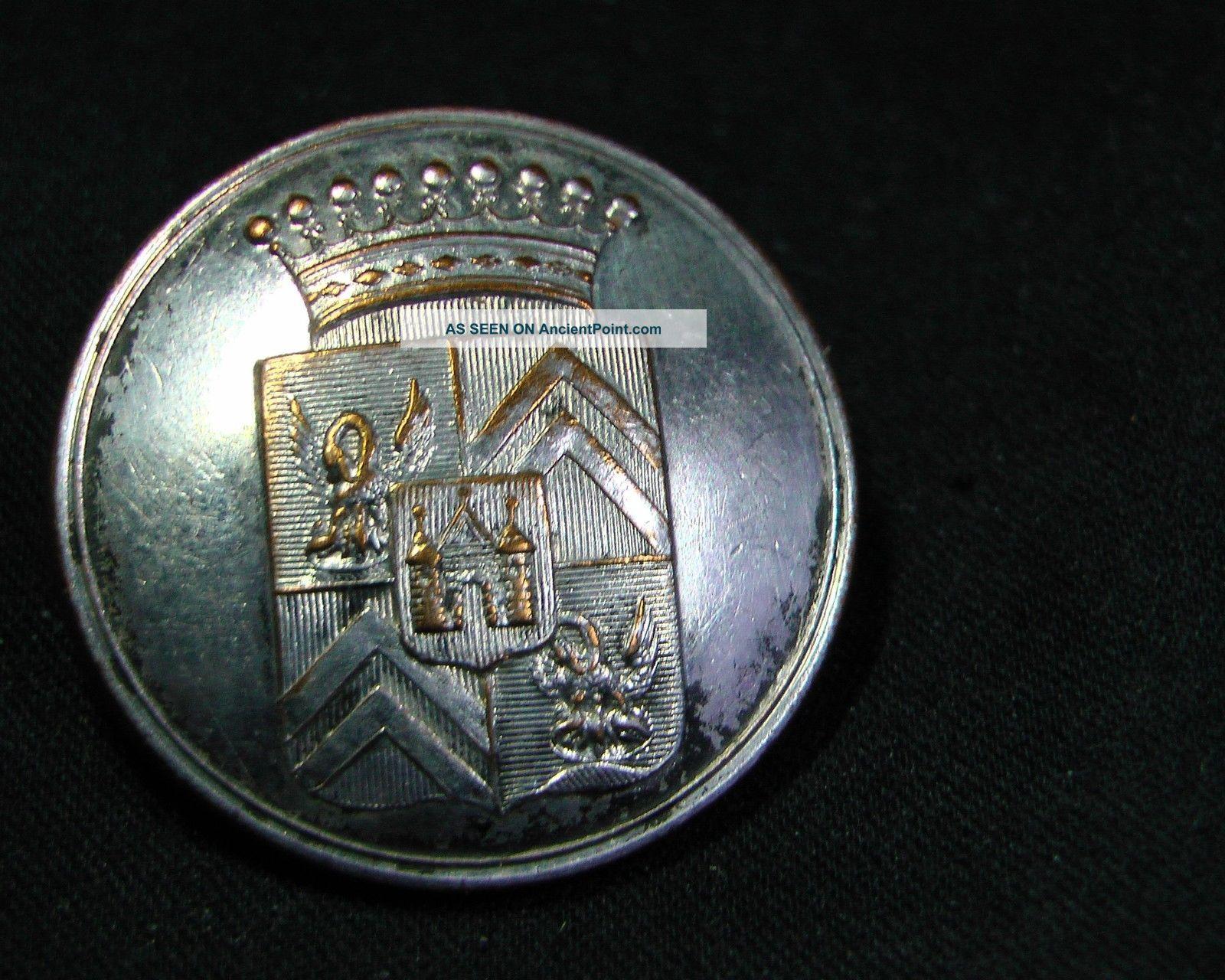 Pourtalès Family Of Cevenol France 25mm Silver Livery Button Treble Plated Buttons photo