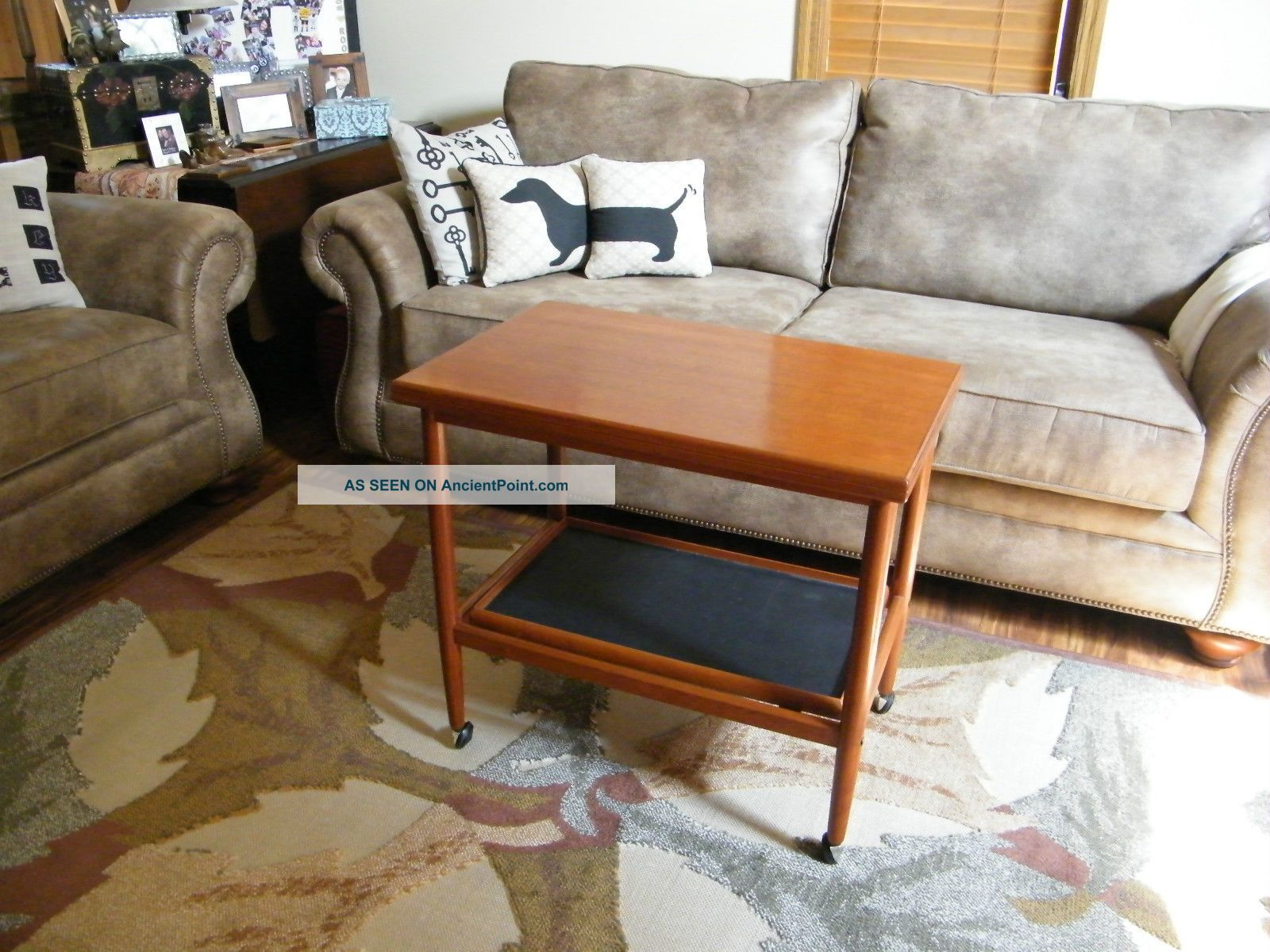 Vintage Danish Modern Swivel Top Serving Cart With Tray Mid-Century Modernism photo