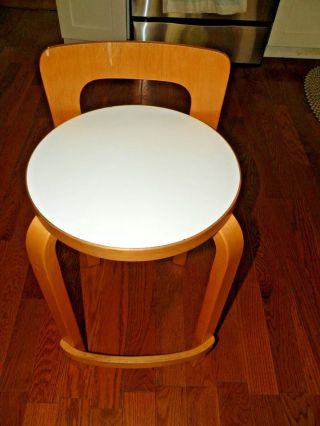 Vintage Alvar Aalto K65 High Chair Stool Birch White Formica Artek photo