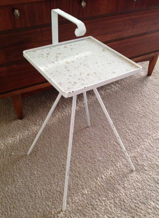 Mcm Atomic Era Side Table,  White Iron,  Quad Legs,  Gold & White Linoleum Top photo
