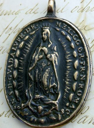 Antique 17th Century O.  L.  Of Guadalupe & St.  Michael Archangel Dated 1682 Medal photo