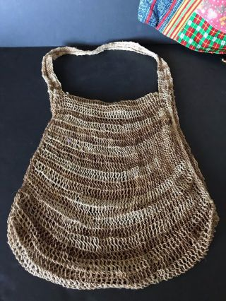 Vintage Papua Guinea Bush Twine Bilum Bag …beautiful Handmade Shoulder Bag photo
