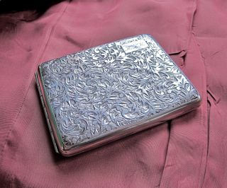 Vtg Sterling Silver Engraved Cigarette Case Compact 3.  75