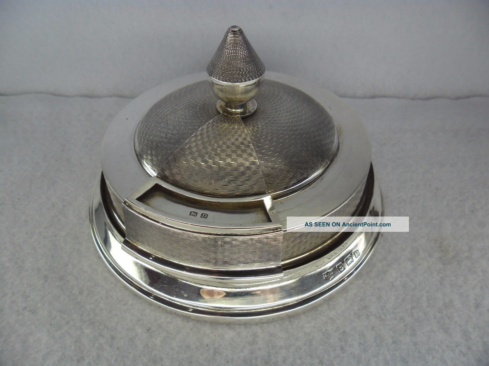 Art Deco Sterling Solid Silver Rotating Match Dispenser,  Birmingham 1928 Cigarette & Vesta Cases photo