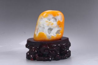 Exquisite 100 Natural Hetian Jade Hand Carved Moutain & Man Statue Y278 photo