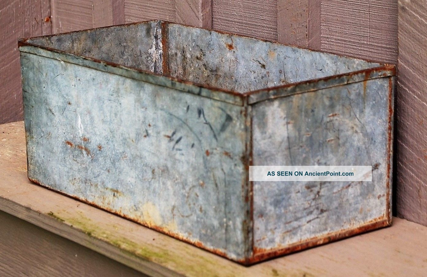 Old Vintage Galvanized Tin Window Box Planter Country Home Farm Decor 17