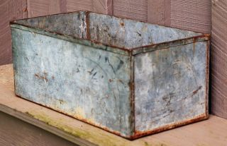 Old Vintage Galvanized Tin Window Box Planter Country Home Farm Decor 17