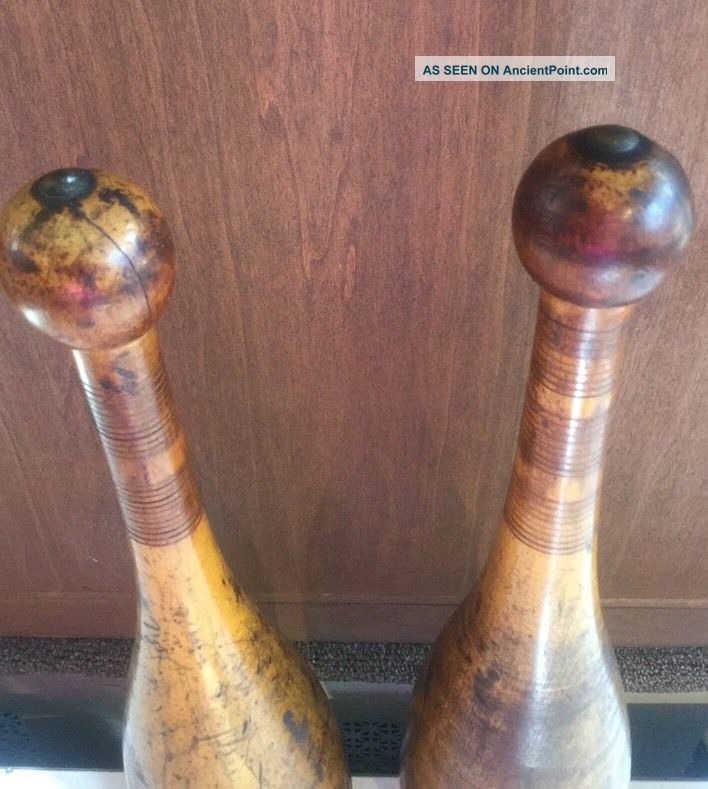 2 Antique Wooden Indian 3lb.  Clubs Exercise Pins Heavy Juggling Circus Weights Primitives photo