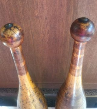 2 Antique Wooden Indian 3lb.  Clubs Exercise Pins Heavy Juggling Circus Weights photo