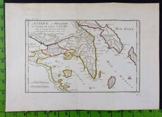 Map Of Ancient Attica Greece Antique Engraved Map 1785 Large 10x15 Inches photo