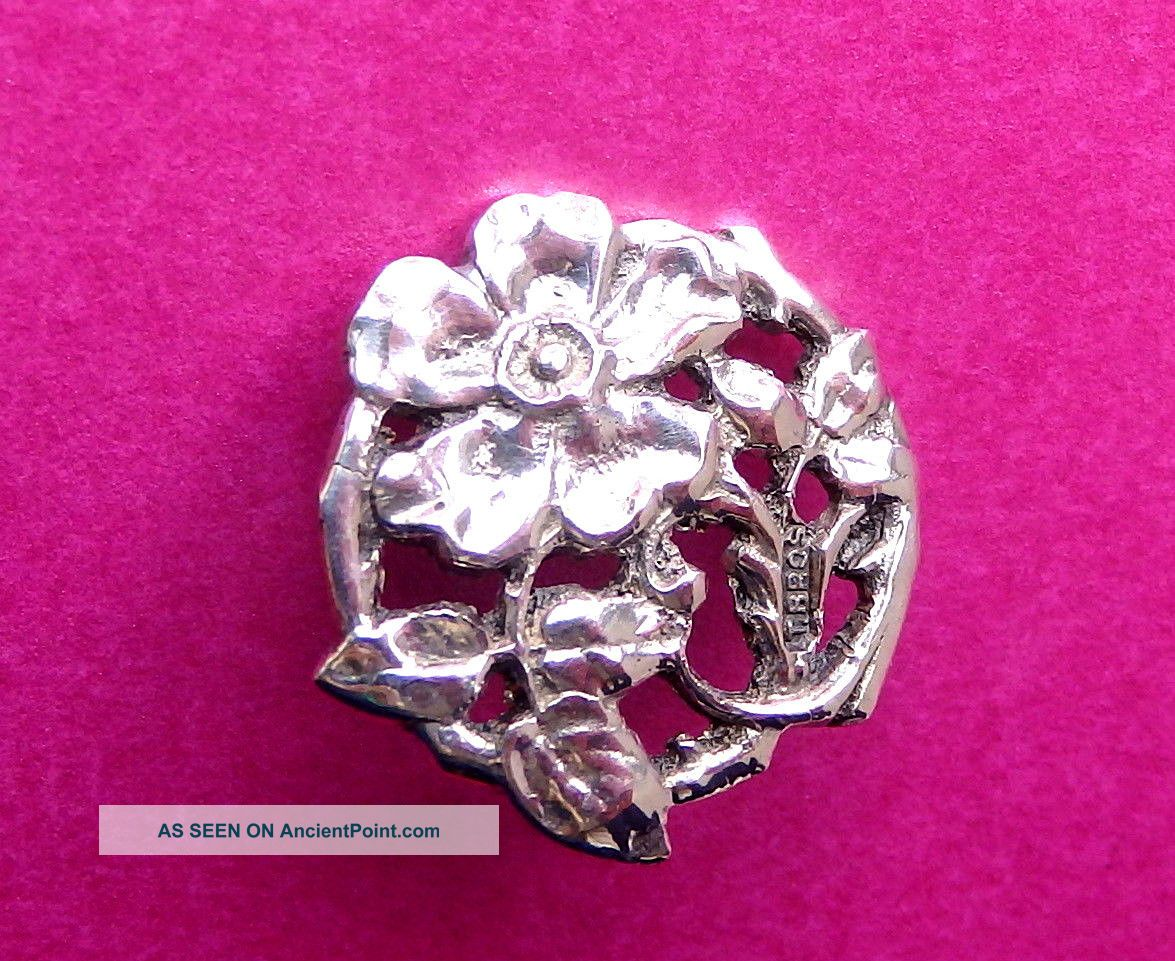 Antique Circa 1900,  English Sterling Silver Button,  Wld Rose By T.  Brothers. Buttons photo