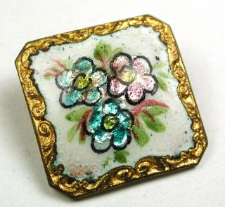 Antique Square Enamel Button Three Flowers Over Foil W/ Fancy Brass Border 7/8