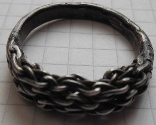 Viking Period Complex Braided Very Large Silver Crimped Ring photo