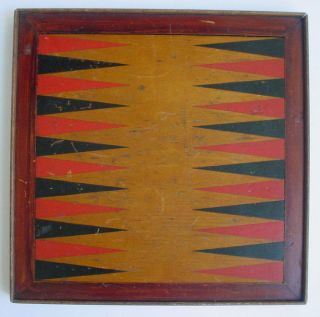 19th Century Painted Wood Checkers & Backgammon Two Sided Game Board Antique photo