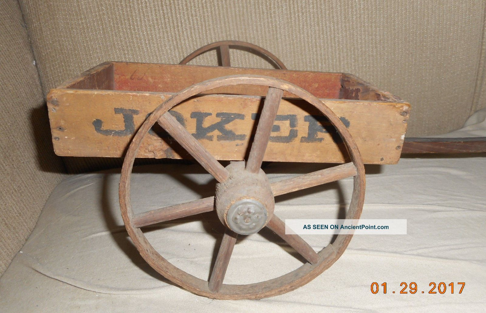 Aafa Antique Long Folk Art Joker Cart Wagon Toy Table Top Display Paint Primitives photo