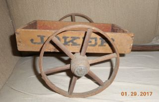 Aafa Antique Long Folk Art Joker Cart Wagon Toy Table Top Display Paint photo