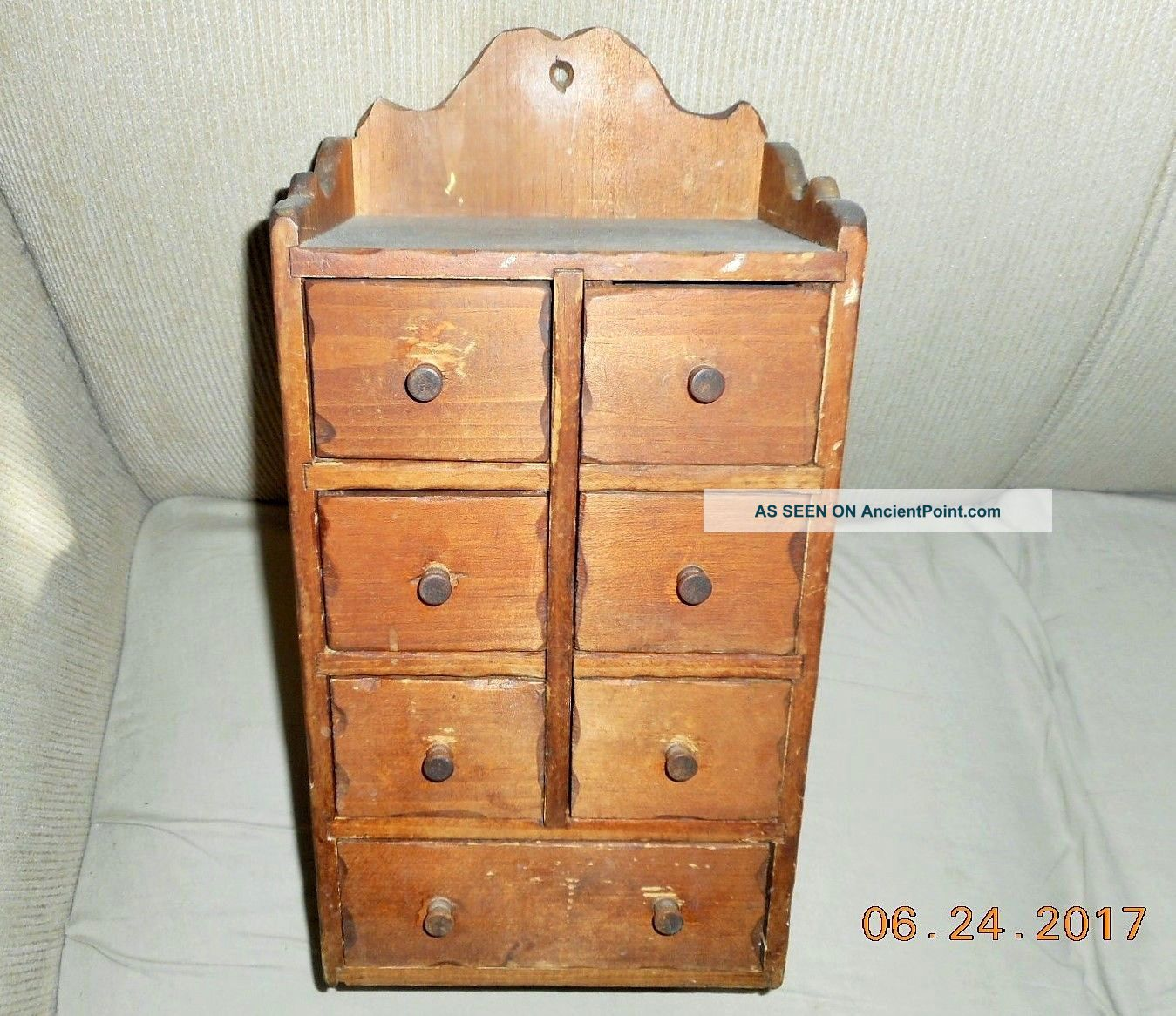 Aafa Antique American Hand Made & Dated Pine Wooden Spice Box Cabinet Apothecary Primitives photo