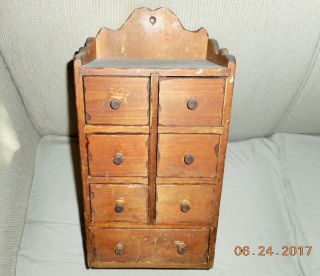 Aafa Antique American Hand Made & Dated Pine Wooden Spice Box Cabinet Apothecary photo
