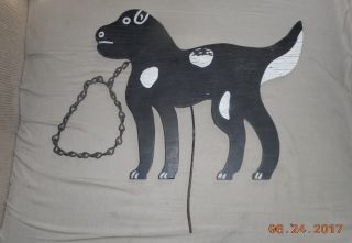 Aafa Antique Naive Hand Made Wood Garden Silhouette Spotted Dog Paint photo
