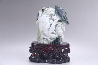 Exquisite 100 Natural Dushan Jade Hand Carved Flower&fish Statue Y498 photo