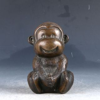 Chinese Copper Handwork Carved Monkey Statue Pj498 photo