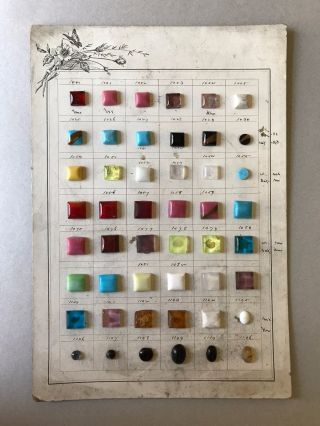 Antique French Button Card Molded Glass Cabochons For Buttons Jewelry Collectors photo