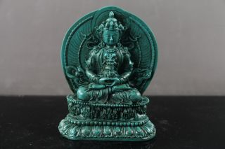 Tibet Collectable Chinese Resin Carved Buddha Statue Ls90 photo