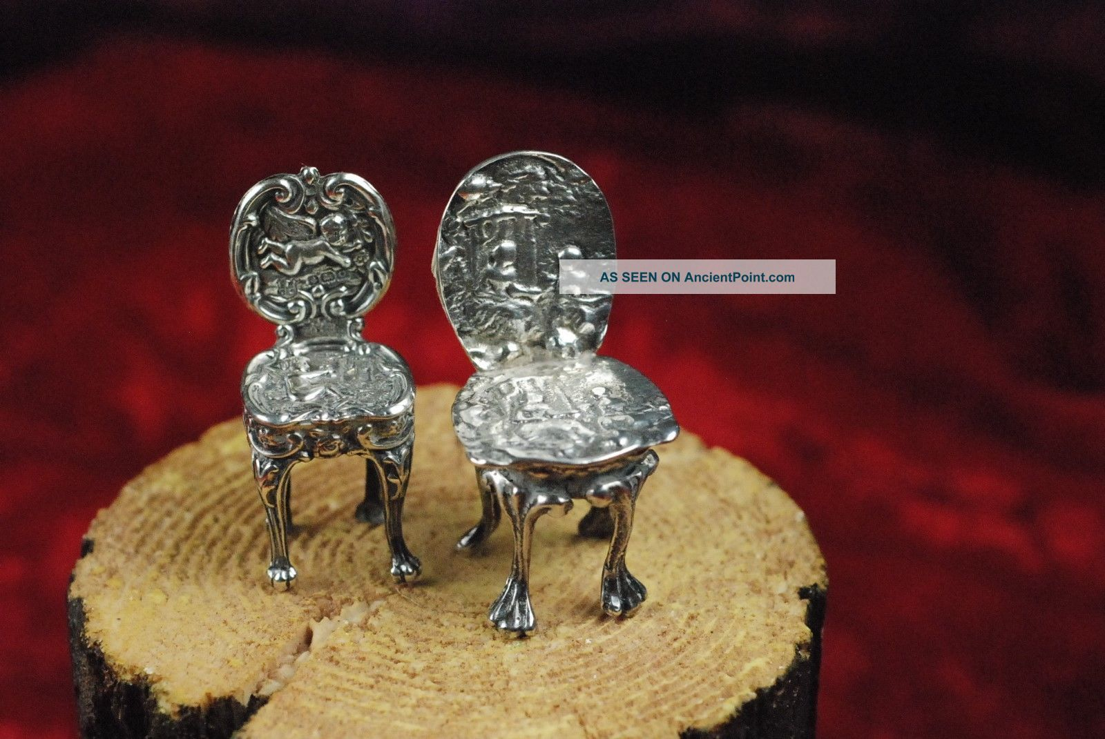2 Unusual 1.  75 - 2 Inch Doll House To Silver Palace Small Ornate Side Chairs Miniatures photo
