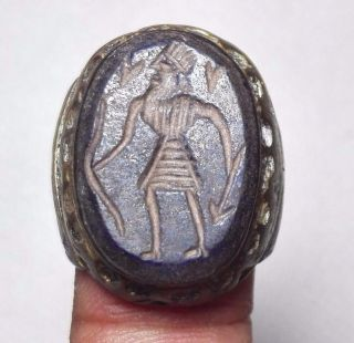 Ancient King Hunter Lapis Intaglio & Deer Bronze Ring 7 Size photo